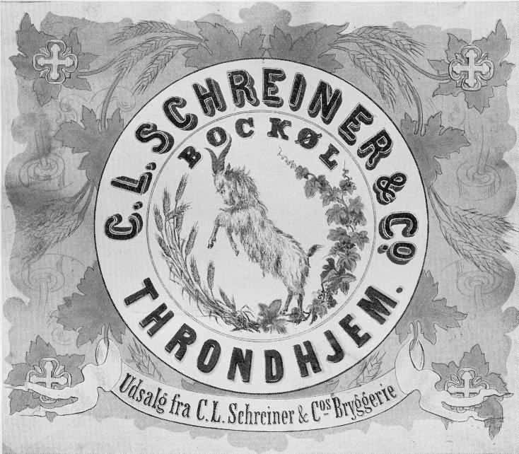 Etikett for bokkøl, C.L. Schreiner & Co bryggeri i Trondhjem. (før 1883).