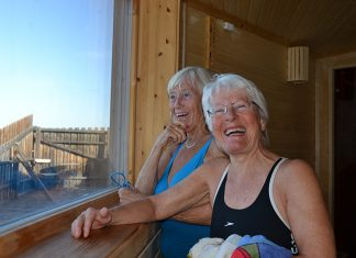Bilde av damer på Sjøbadet